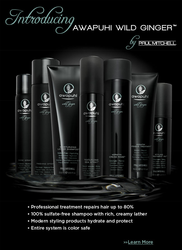Awapuhi is a professional system that repairs hair up to 80%  Awapuhi 100% sulfate-free shampoo with rich, creamy lather.  Modern styling products hydrate and protect.  Awapuhi system is color safe.