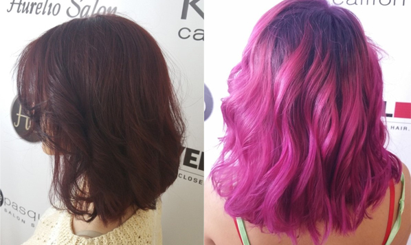 Purple pink Hair Salon Aurelio